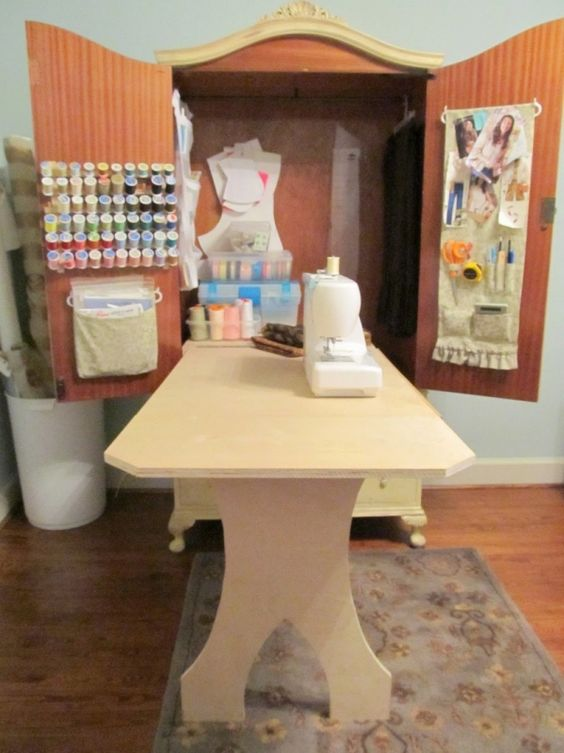 DIY Armoire Sewing Cabinet want but want it so my sewing machine can sit flat to table!!