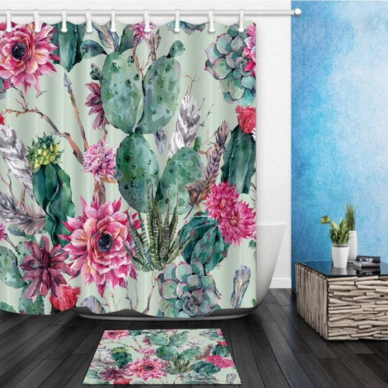 Boho Style Cactus Print Bathroom Waterproof Curtain Shower Set with Hooks 72x72