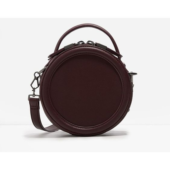 CHARLES & KEITH Round Crossbody ($69) ❤ liked on Polyvore featuring bags, handbags, shoulder bags, burgundy, shoulder strap handbags, crossbody handbag, crossbody shoulder bags, red purse and zipper handbag