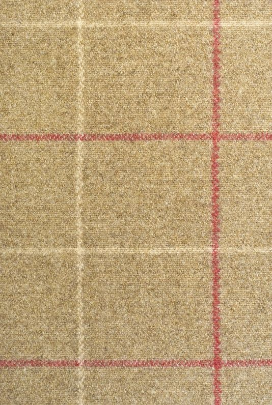 Hawke Wool Fabric Light brown wool with box check in red and cream.