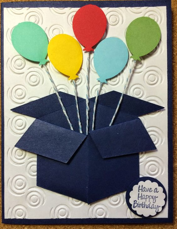 Kathie's Cards: Birthday: 3-D Box with Balloons.  Neat and Tangled Box Die.