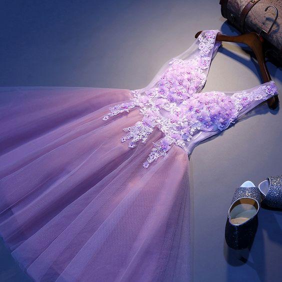 2016 Sexy court mince robe de mariée Violet Violet Mini encolure en v de bal dentelle fleur robe de demoiselle d'honneur robe dans Robes de demoiselles d'honneur de Mariages et événements sur AliExpress.com | Alibaba Group