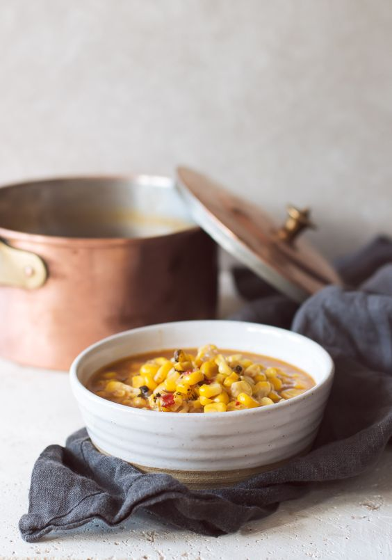 This Sweet and Spicy Corn Chowder is simple in ingredients, dairy free and taste…: