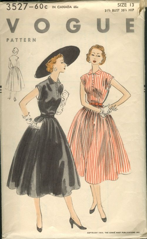 """Vogue 3527; ©1953; Unprinted Pattern. One-Piece Dress """"Easy-To-Make"""" Straight all-around gathered skirt joins the sleeveless bodice at waist..."""