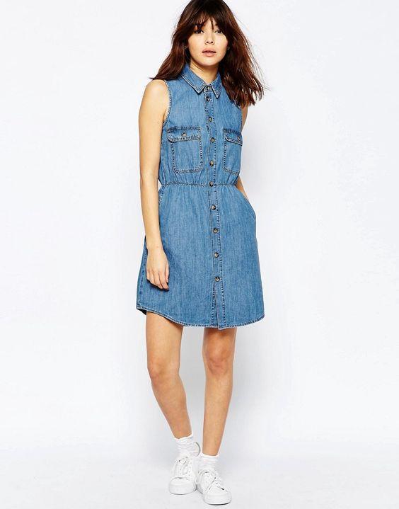Image 4 - ASOS - 19euros Robe chemise cintrée en jean sans manches - Délavage bleu rétro