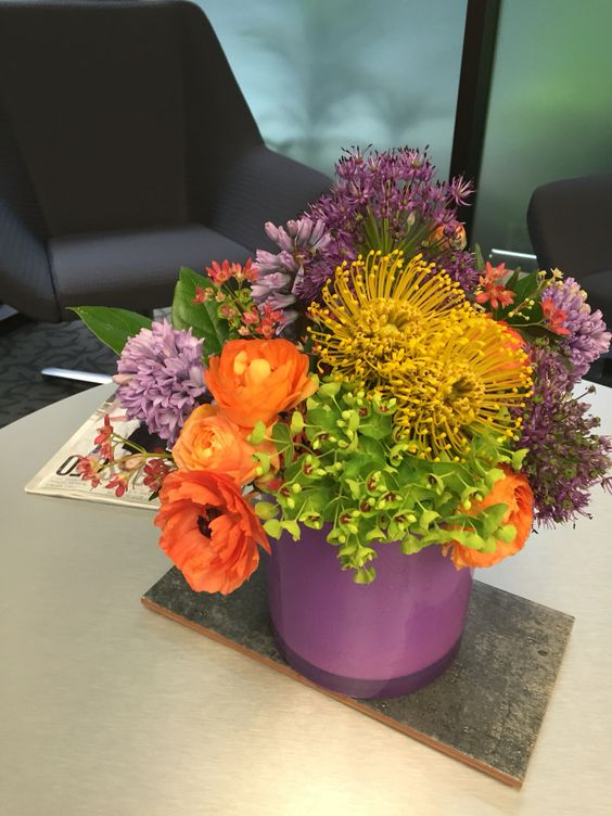 Ranunculus, pincushion protea and allium- diggin' it!  All InBloom Flowers, Columbus OH