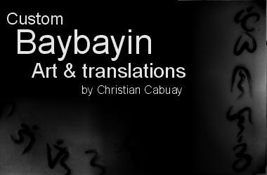 If you are looking to get a Baybayin tattoo this is the place to look! http://PinoyTattoos.com -Filipino Tattoo Source