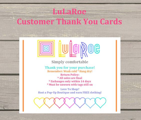 50 LuLaRoe Customer Thank You Cards Return Policy and Product Care - refund policy
