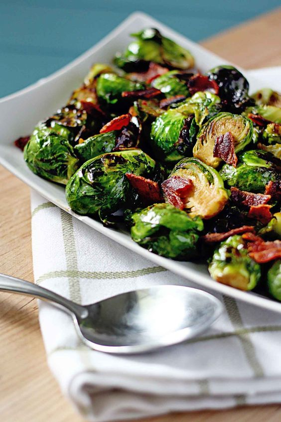 Brown Sugar Glazed Brussels Sprouts with Bacon Crumbles