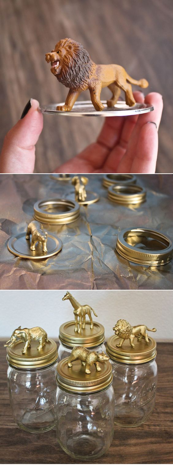 DIY Golden Safari Mason Jar Caps great for changing table things like cotton balls or small toys. Can use plastic containers instead for safety More