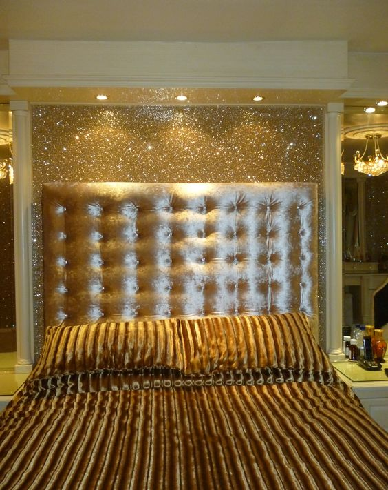 Use micheals glitter wrapping paper instead of actual for Glitter wallpaper for bedroom