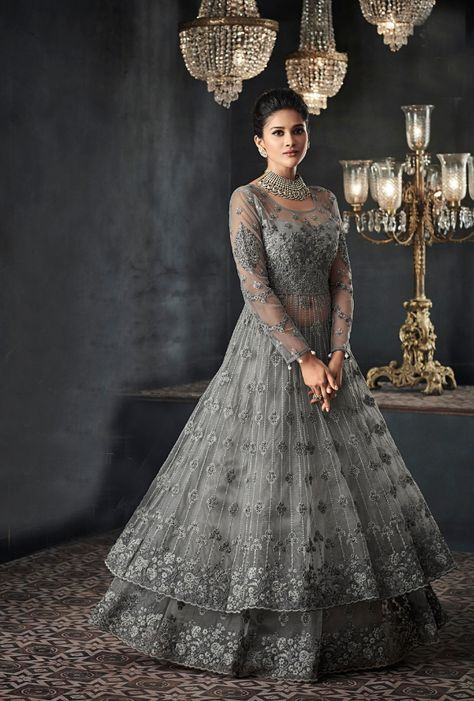 Grey Designer Party Wear Net Gown Suit Net Gowns Indian Gowns Dresses Gowns For Girls
