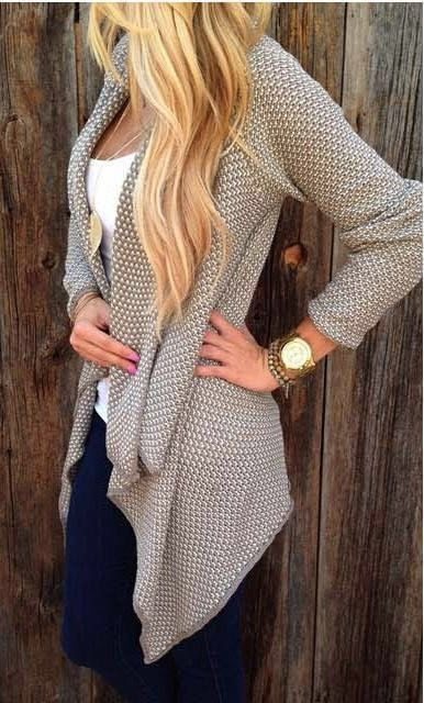 Cardigan sweater will make you very energetic.This is a very beautiful sweater.This sweater is the Asymmetric , worn on the body will be very comfortable. This sweater is a good choice. Size:S, M, L,