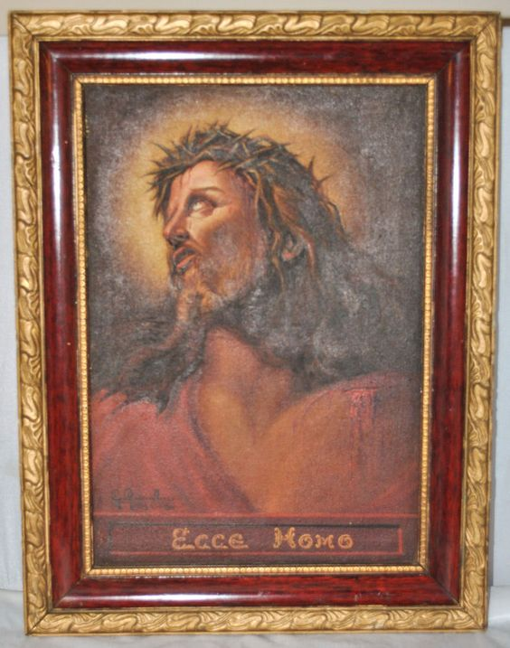 Signed Framed Oil on Canvas Painting of Jesus on the Cross Ecce Homo, India 1941