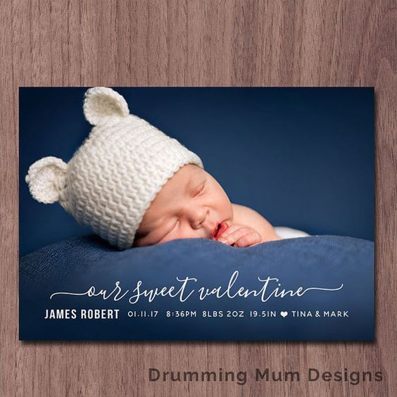 Modern Valentine Birth Announcement Valentines Day Birth – Valentine Birth Announcement
