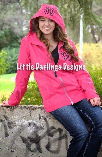 Women&39s Monogrammed Hot Pink Rain Jacket | Monogram