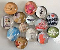 DIY magnets. Make sets in a theme, present in a decorated Altoid tin.