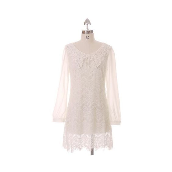 Romance White Lace Dress ($50) ❤ liked on Polyvore