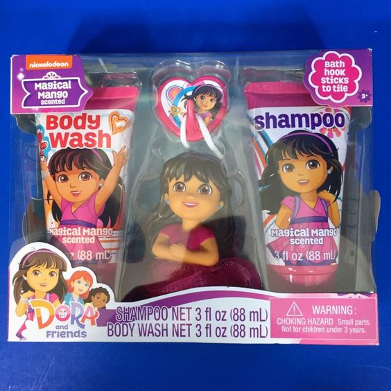 Dora And Friends Soap  amp  Scrub Bath Set Shampoo Body Wash Bath Scrubby Mango  Nickelodeon. Dora And Friends Soap  amp  Scrub Bath Set Shampoo Body Wash Bath
