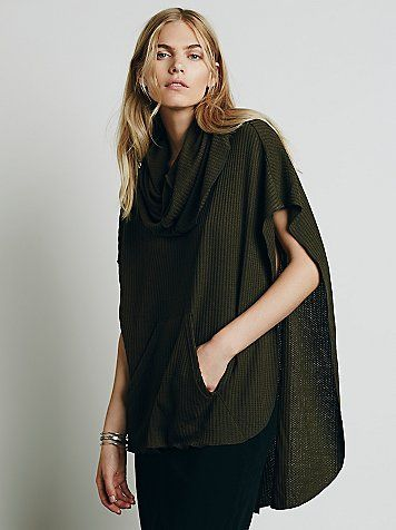 Pearl Poncho | So-soft textured knit poncho, with a kangaroo pocket and a dramatic cowl neck. Pullover style, with a high-low hem.