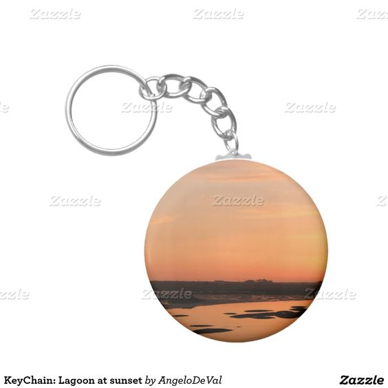 KeyChain: Lagoon at sunset Basic Round Button Keychain