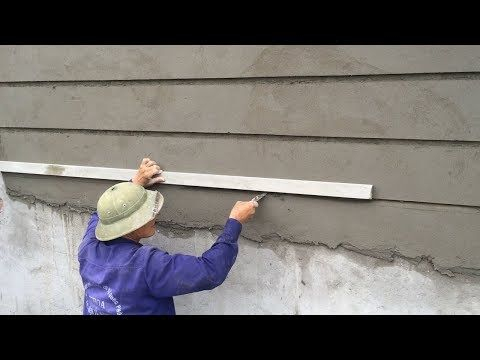 Rendering Technique Using Sand And Cement On Concrete Walls Construction Worker Skills Youtube Concrete Wall Wall Molding Design Exterior Wall Design