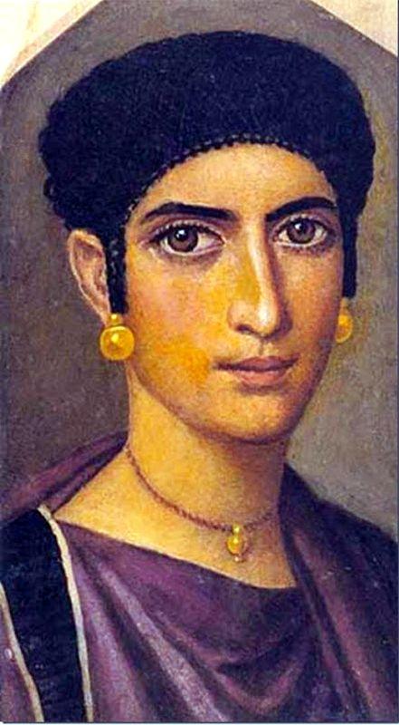 Fayum mummy portrait of a woman,Roman Egypt
