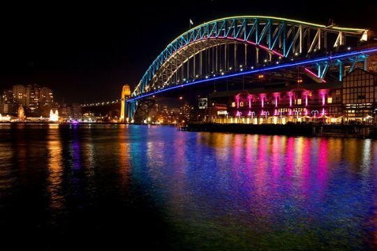 Sydney Harbour Bridge all lit up for VIVID Sydney