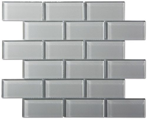 Smoke Gray Gl Mosaic Subway Tile To
