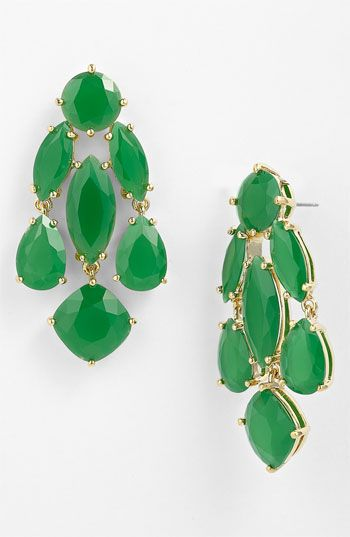 Kate Spade green chandelier drops: Earrings Kate, Chandelier Earrings, Bath Chandelier, Spade Green, Kate Spade