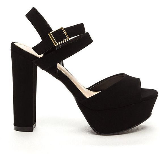 Walk The Walk Faux Nubuck Heels BLACK (€27) ❤ liked on Polyvore featuring shoes, black, chunky high heel shoes, high heel platform shoes, black shoes, chunky platform shoes and strappy shoes
