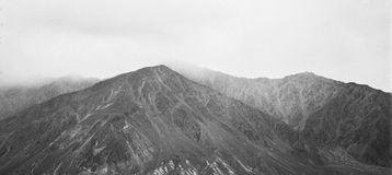 Vintage analogue film photo of high mountains Stock Photos