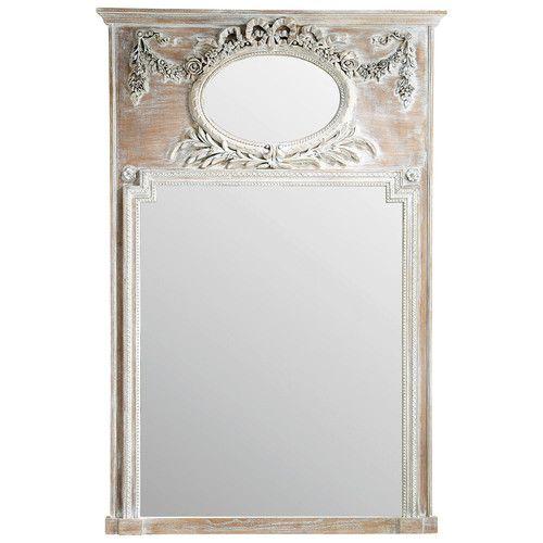 Miroir trumeau en bois h 160 cm mirano envies d co for Miroir trumeau bois