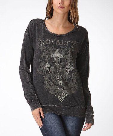 Another great find on #zulily! Black Rhinestone 'Royalty' Sweatshirt - Women #zulilyfinds