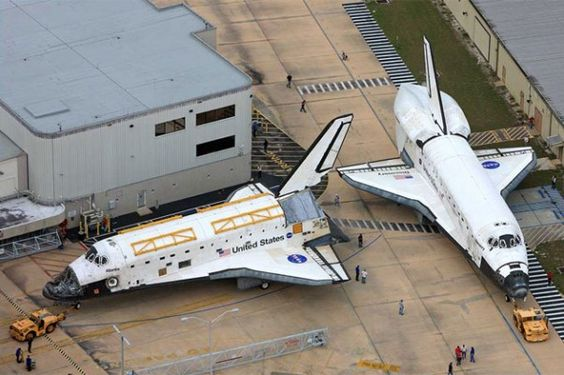 """""""For a brief few seconds, Space Shuttles Atlantis and Discovery were a few feet apart, a scene which will never be replicated."""""""