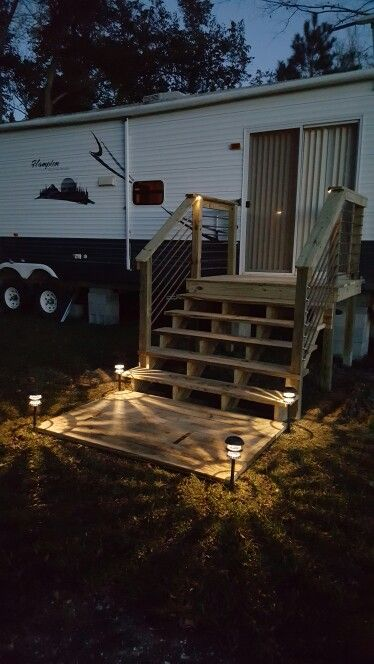 Rv Deck With Landing And Rebar Railing House Exterior