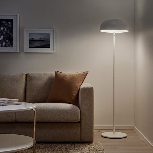 Nymane Floor Lamp With Led Bulb White Ikea In 2020 White Floor Lamp Ikea Floor Lamp Floor Lamp