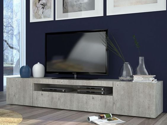 Daiquiri, Modern Large TV Cabinet in Cement Finish, Optional Lights