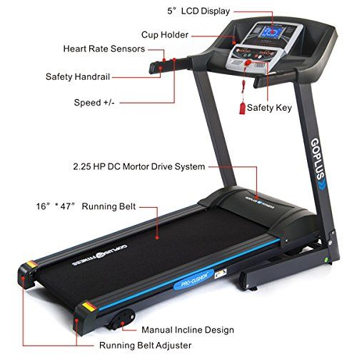 Goplus 2 25hp Folding Treadmill Electric Support Motorized Power Running Fitness Jogging Incline Machine G Fitness Jogging Incline Machine Fitness Jogging Incli Good Treadmills Running Machines No Equipment Workout