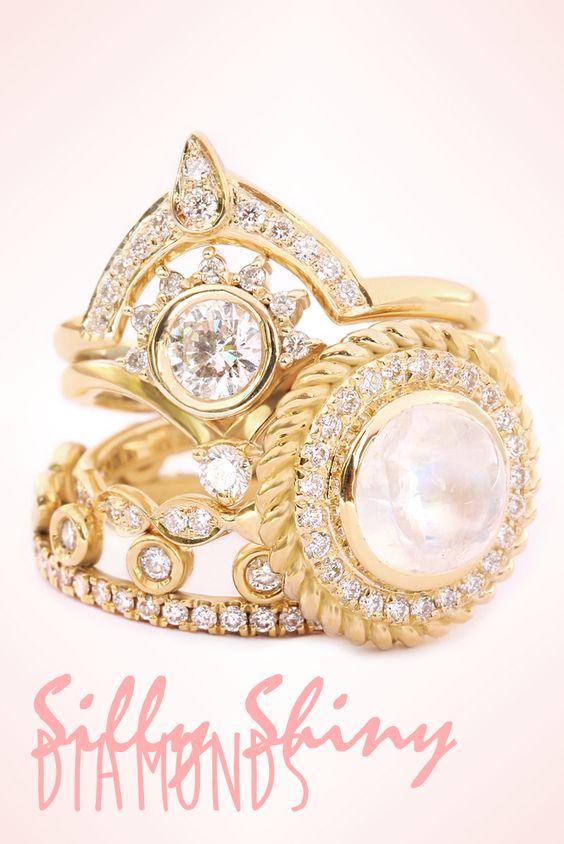 Dainty diamond rings yellow gold by silly shiny diamonds