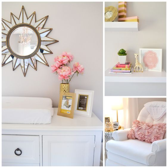 Pink and Gold Nursery Accent Pieces - love a sunburst mirror over the changing table!