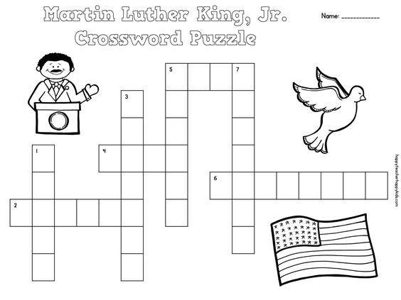 free martin luther king jr crossword puzzles for primary students mlk martin luther king jr. Black Bedroom Furniture Sets. Home Design Ideas