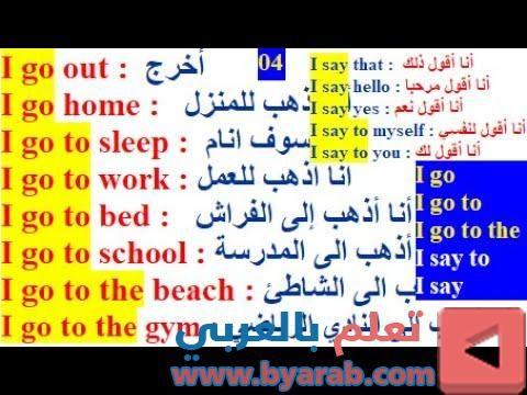 تعلم اللغة الإنجليزية بسهولة وسرعة حفظ الجمل الإنجليزية بطريقة سهلة تكلم انجليزي بسرعة الد I Go To Work Going To Work Go To Sleep