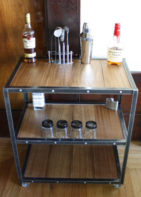 Industrial Bar Cart Made With Angle Iron By