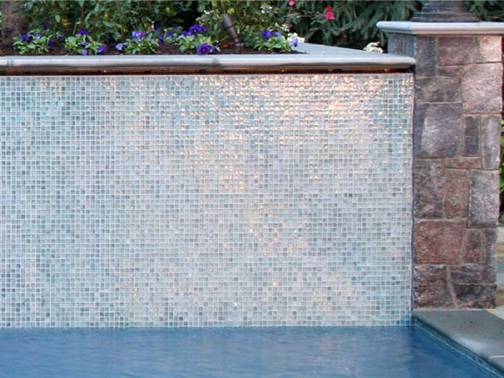 pool tile designs   Glass tile installation on swimming pool