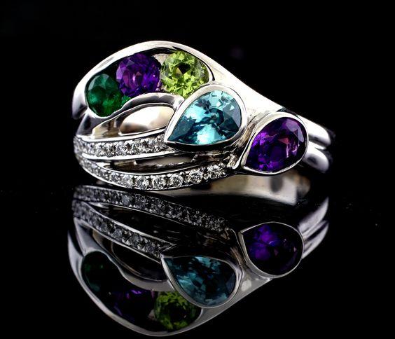 custom made s ring with blue zircon emerald