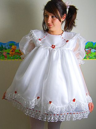 white satin dress with red flowers - front  Age Play Clothing ...