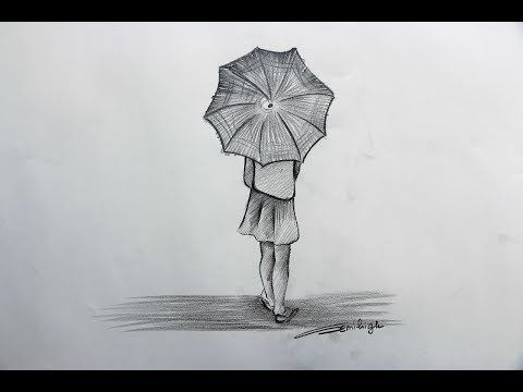 How To Draw A Beautiful Rainy Day Step By Step Youtube Rainy Day Drawing Drawings My Drawings