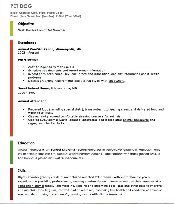 Resume Examples For Pet Grooming - Http://Exampleresumecv.Org
