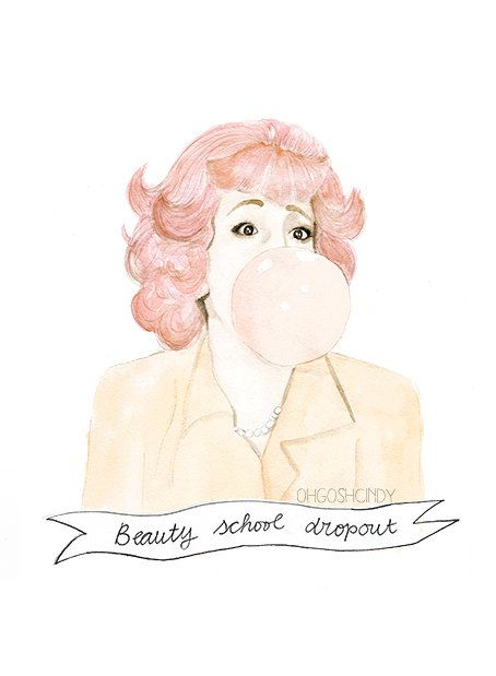 Frenchy from Grease watercolour portrait PRINT Didi Conn